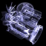 Diesel engine. X-ray render Royalty Free Stock Photography