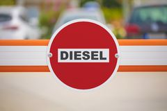 Diesel fuel ban. Diesel no entry sign on gateway stock image