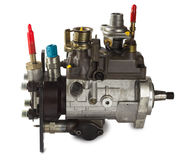 Diesel fuel injection pump. On white Stock Photos