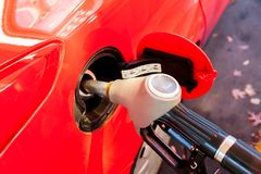Diesel fuel in the station. Diesel fuel pistol in the station stock images