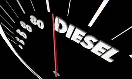 Diesel Fuel Power Engine Speedometer Word. 3d Illustration stock illustration