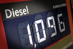 Diesel fuel price Stock Photo