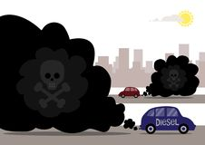 Diesel Fumes. Diesel cars emitting toxic exhaust fumes that have a skull and cross bones in the pollution. A metaphor on the unseen threat in the exhaust stock illustration