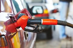Diesel or gasoline fuel nozzle at station Royalty Free Stock Images