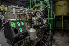 Diesel generator at abandoned bomb shelter Royalty Free Stock Photo