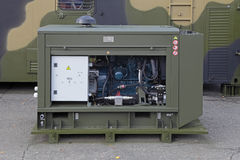 Diesel generator set. NIZHNY TAGIL, RUSSIA - SEP 26, 2013: The international exhibition of armament, military equipment and ammunition RUSSIA ARMS EXPO (RAE-2013 stock photos