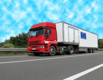 Diesel heavy cargo van (fuel lorry), highway Stock Photo