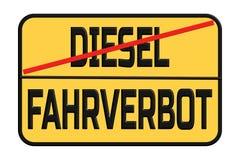 Diesel- körförbud i stadsgatatecknet - i tyskt royaltyfri foto
