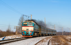 Diesel local train in Ukraine Stock Photography