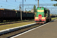 Diesel locomotive. (made in USSR) on a railway station Royalty Free Stock Image
