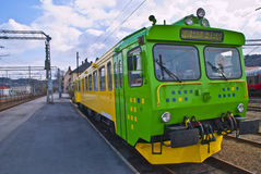 Diesel locomotive. Belonging to track services. Track Services provides machinery, terminal and Royalty Free Stock Images