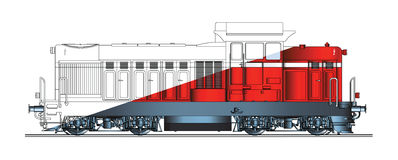 Diesel locomotive abstract drawing color Stock Photo