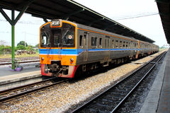 Diesel locomotive arrived to railway station. Thailand royalty free stock photos