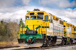Diesel Locomotive. And Cloudy Sky in Autumn stock photography