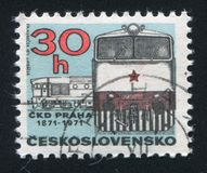Diesel Locomotive. CZECHOSLOVAKIA - CIRCA 1971: stamp printed by Czechoslovakia, shows Diesel Locomotive, circa 1971 stock photography