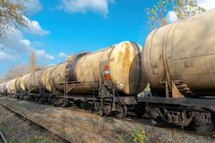 Diesel locomotive delivering oil in tanks royalty free stock image