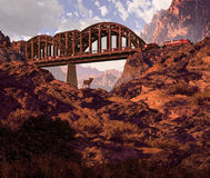 Diesel Locomotive And Desert Bighorn Sheep. Diesel locomotive coming out of a railroad bridge in a Southwest canyon vector illustration