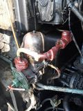 Diesel locomotive fuel system. mainline diesel locomotive repair. And operation stock image