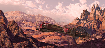 Diesel Locomotive In The Great Southwest. Diesel locomotive crossing bridge over canyon in a Southwest landscape stock illustration