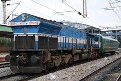 Diesel Locomotive of Indian Railways. BENGALURU, INDIA - JULY 25, 2015: A diesel locomotive of type WDP4 of Indian Railways. Indian Railways is an Indian state Royalty Free Stock Photography