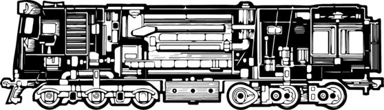 Diesel locomotive with its structure and elements. On a white background vector illustration