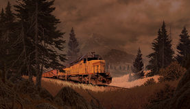 Diesel Locomotive In The Mountains. Diesel locomotive traveling through the Rocky Mountains royalty free illustration