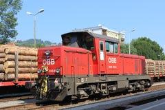 Diesel locomotive in OBB livery, Wolfsberg, Austria. Red diesel locomotive in OBB (Osterreichische Bundesbahnen - Austrian Federal Railways) livery at Wolfserg Stock Photo
