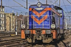 Locomotive. Diesel locomotive on the railway in the city Royalty Free Stock Image