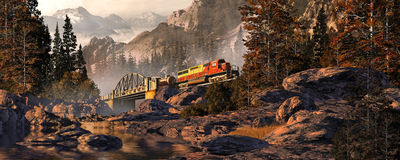 Diesel Locomotive On Steel Arched Bridge royalty free illustration