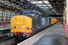 Diesel locomotive and test train, Crewe station. Royalty Free Stock Images