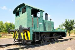Old diesel locomotive, Puertollano, Castilla la Mancha, Spain. Diesel locomotive to transport the coal from the mines, currently in the Mining Museum of royalty free stock photos