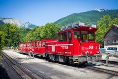 Diesel locomotive of a vintage cogwheel railway going to Schafbe Stock Image