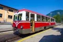 Diesel locomotive of a vintage cogwheel railway going to Schafbe Stock Photo