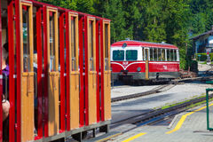 Diesel locomotive of a vintage cogwheel railway going to Schafbe Stock Image