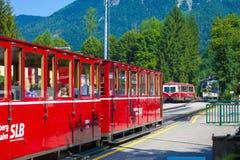 Diesel locomotive of a vintage cogwheel railway going to Schafbe Royalty Free Stock Images