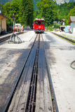 Diesel locomotive on a vintage cogwheel railway going to Schafbe Stock Photo