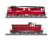 Diesel locomotives color side view Royalty Free Stock Photo