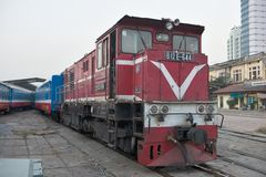 Diesel locomotives in Hanoi Stock Photo