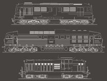 Diesel Locomotives vector side view Royalty Free Stock Image