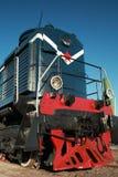 Diesel- lokomotiv med den röda stjärnan Arkivbilder