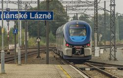 Diesel motor train in Marianske Lazne town. In autumn day Royalty Free Stock Images