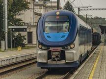 Diesel motor train in Marianske Lazne town. In autumn day Stock Photography