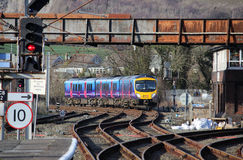 Diesel multiple unit train approaching Carnforth Stock Image