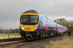 Diesel multiple unit train at Arnside in Cumbria Stock Photography