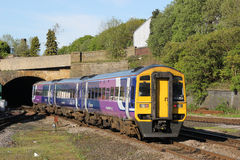 Diesel multiple unit train leaving Blackburn Stock Image