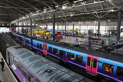 Diesel multiple unit trains Leeds railway station Stock Photography