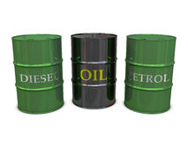 Diesel, Oil and Petrol barrels. Isolated on white background royalty free illustration