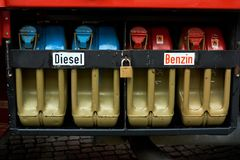 Diesel petrol canister. Full diesel petrol reserve canister royalty free stock photography