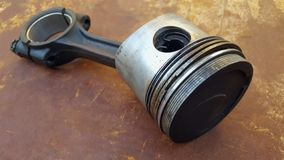 Diesel piston, the main driving component on the engine. In the cylinder box stock image