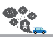 Diesel Pollution. A graphic illustration of the main diesel exhaust pollutants from a car Stock Images